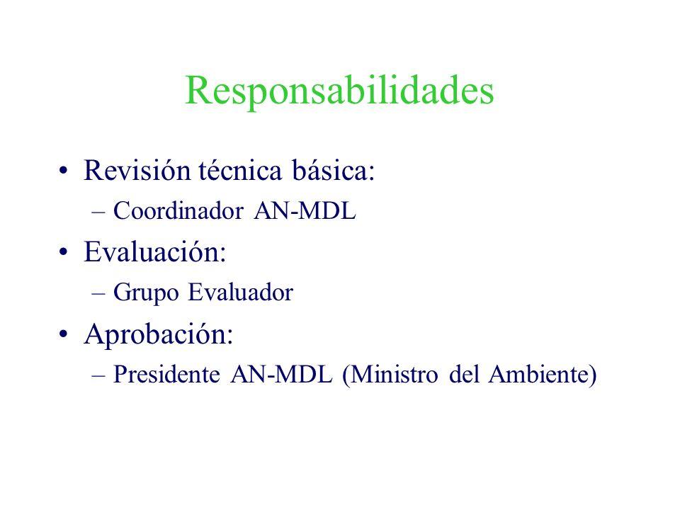 Responsabilidades Revisión técnica básica: –Coordinador AN-MDL Evaluación: –Grupo Evaluador Aprobación: –Presidente AN-MDL (Ministro del Ambiente)