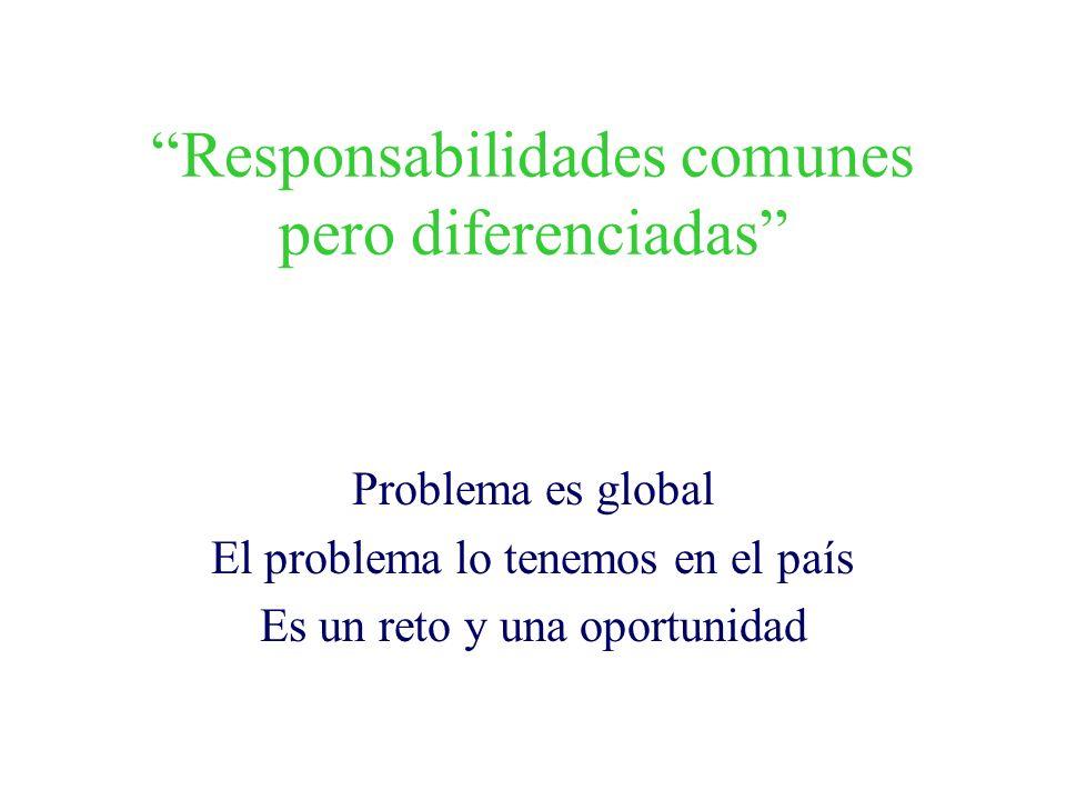Responsabilidades comunes pero diferenciadas Problema es global El problema lo tenemos en el país Es un reto y una oportunidad