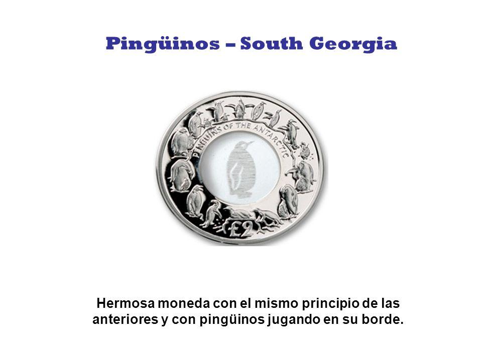 Esta moneda de dos libras, tiene un centro de cristal azul con una tortuga grabada en su centro.