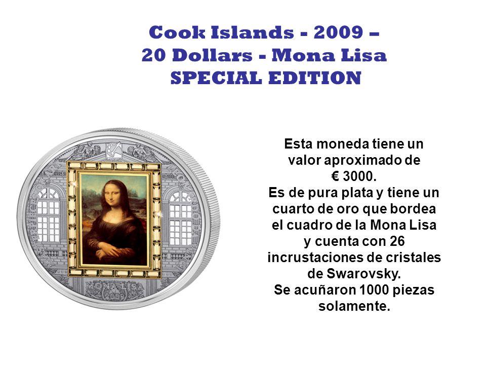 Esta moneda tiene un valor aproximado de 1300.- y representa el dibujo famoso de Leonardo DaVinci llamado El Hombre de Vitruvian que cuenta con 26 incrustaciones de cristales de Swarovsky.