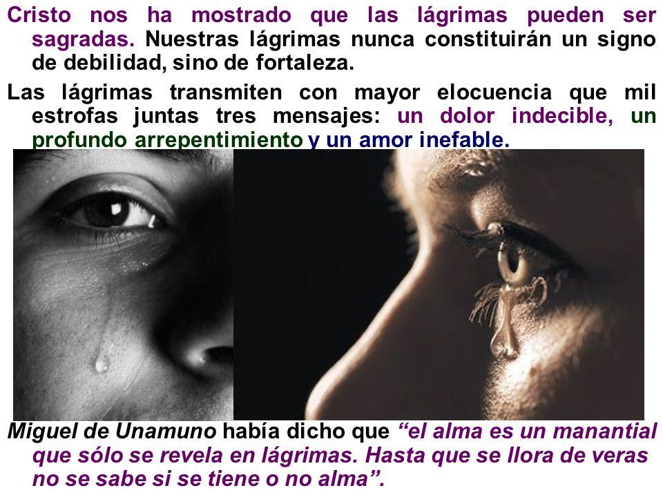 Cristo nos ha mostrado que las lágrimas pueden ser sagradas. Nuestras lágrimas nunca constituirán un signo de debilidad, sino de fortaleza. Las lágrim