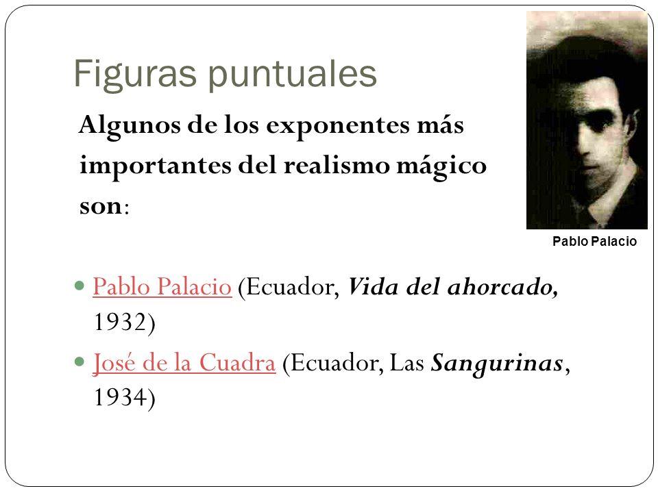 Figuras puntuales Algunos de los exponentes más importantes del realismo mágico son: Pablo Palacio (Ecuador, Vida del ahorcado, 1932) Pablo Palacio Jo