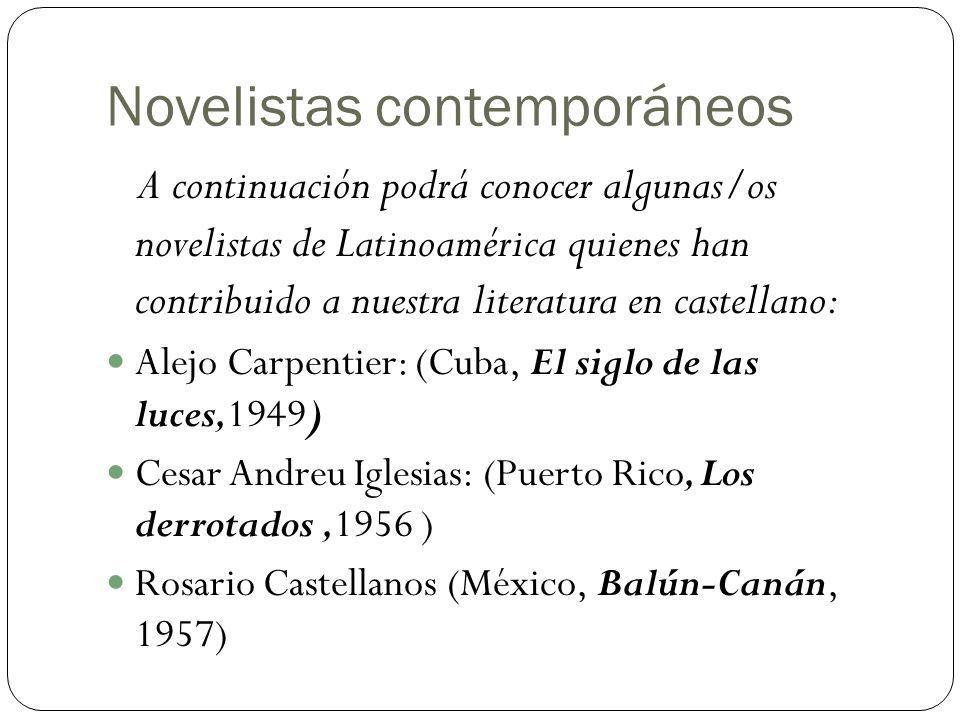 Novelistas contemporáneos A continuación podrá conocer algunas/os novelistas de Latinoamérica quienes han contribuido a nuestra literatura en castella