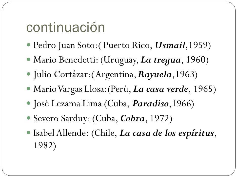 continuación Pedro Juan Soto:( Puerto Rico, Usmail,1959) Mario Benedetti: (Uruguay, La tregua, 1960) Julio Cortázar:( Argentina, Rayuela,1963) Mario V