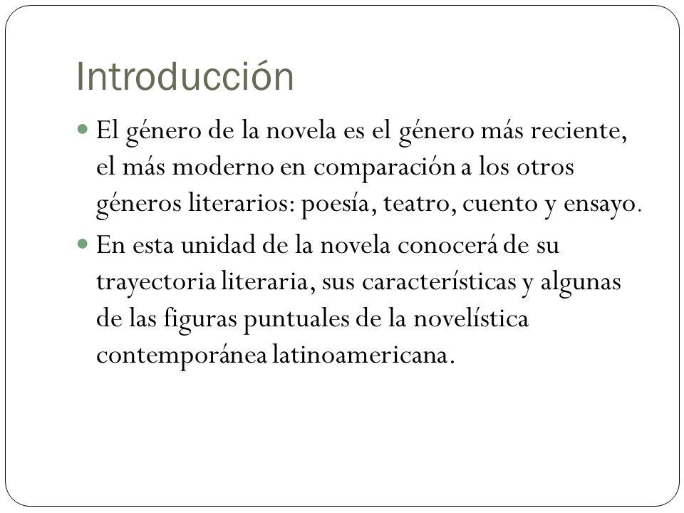 Introducción El género de la novela es el género más reciente, el más moderno en comparación a los otros géneros literarios: poesía, teatro, cuento y ensayo.