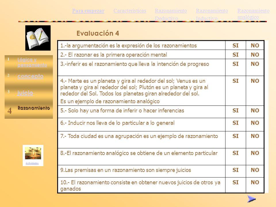 1 Lógica y pensamiento 2 concepto 3 juicio 4Razonamiento Actividades Evaluación 4 1.-la argumentación es la expresión de los razonamientosSINO 2.- El