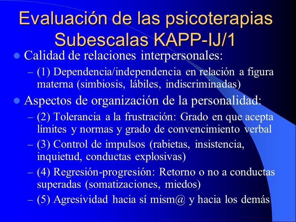 Evaluación de las psicoterapias Subescalas KAPP/1 Calidad de relaciones interpersonales: – (1) Intimidad y reciprocidad – (2) Dependencia y separación
