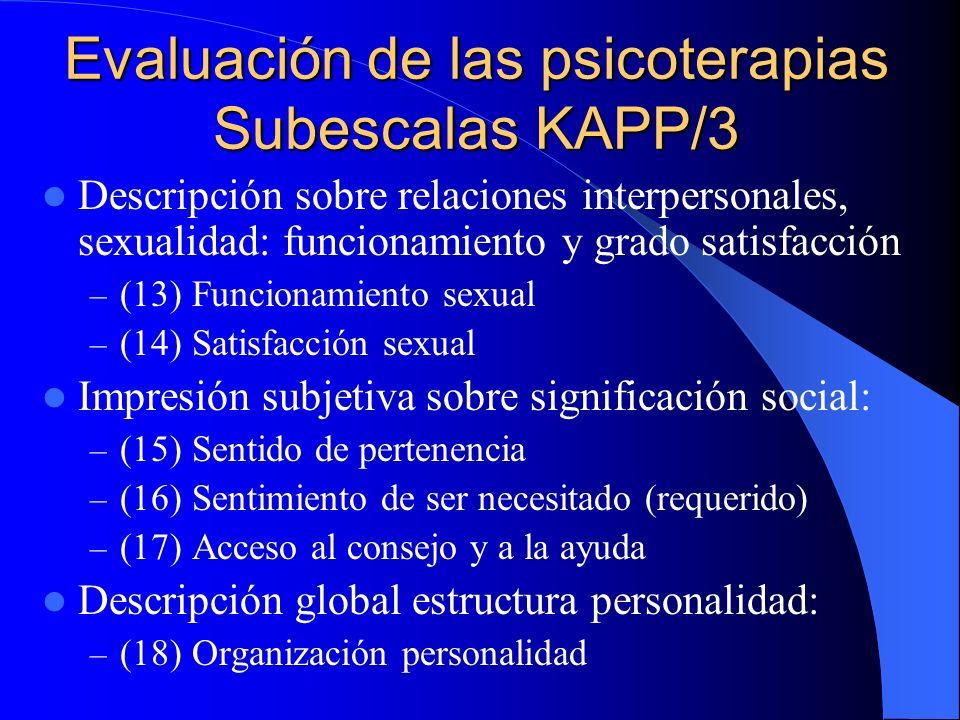 Evaluación de las psicoterapias Subescalas KAPP-IJ/2 Diferenciar afectos: experiencia y expresión: – (6) Alexitimia – (7) Normopatía: Rasgos afectivid