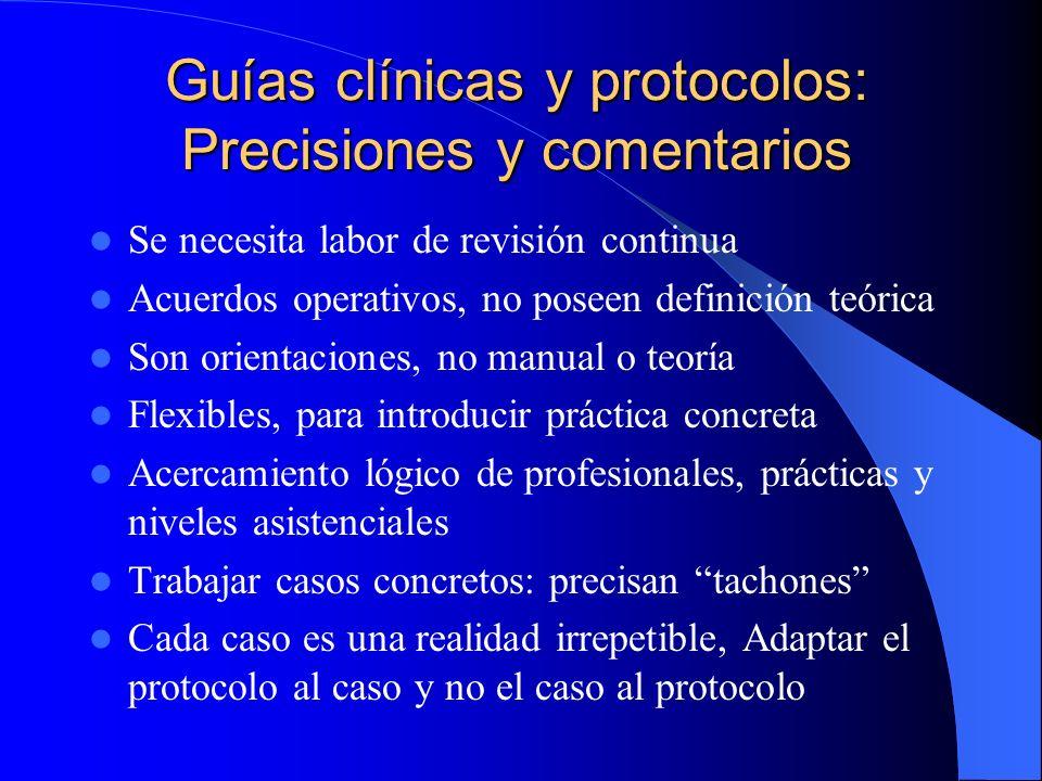 Guías clínicas y protocolos: Origen Origen remoto: Notarios (recoger de forma homogénea la información para guardarla) Origen mediato: – Unificar dife