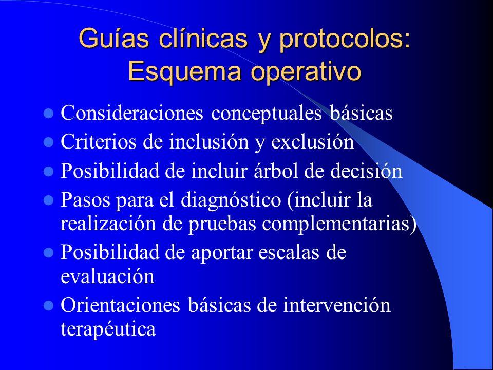 Guías clínicas y protocolos: Precisiones y comentarios Se necesita labor de revisión continua Acuerdos operativos, no poseen definición teórica Son or