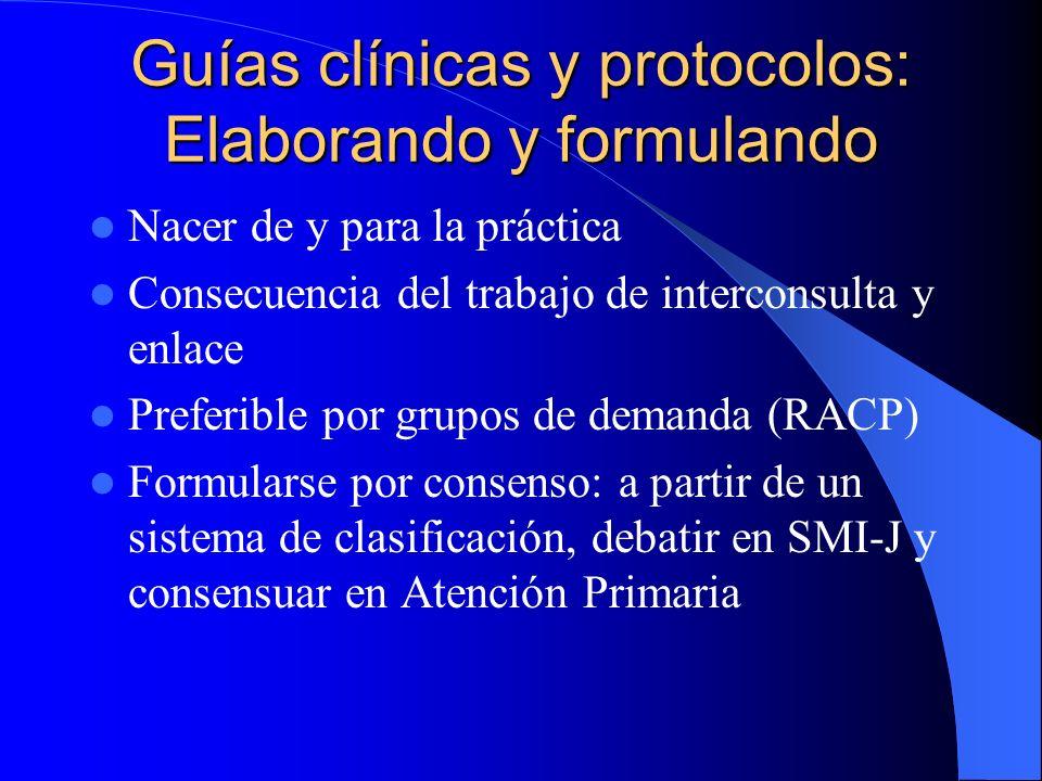 Guías clínicas y protocolos: Esquema operativo Consideraciones conceptuales básicas Criterios de inclusión y exclusión Posibilidad de incluir árbol de