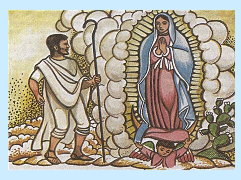 Segunda aparición En el mismo día se volvió; se vino derecho a la cumbre del cerrillo y acertó con la Señora del Cielo, que le estaba aguardando, allí