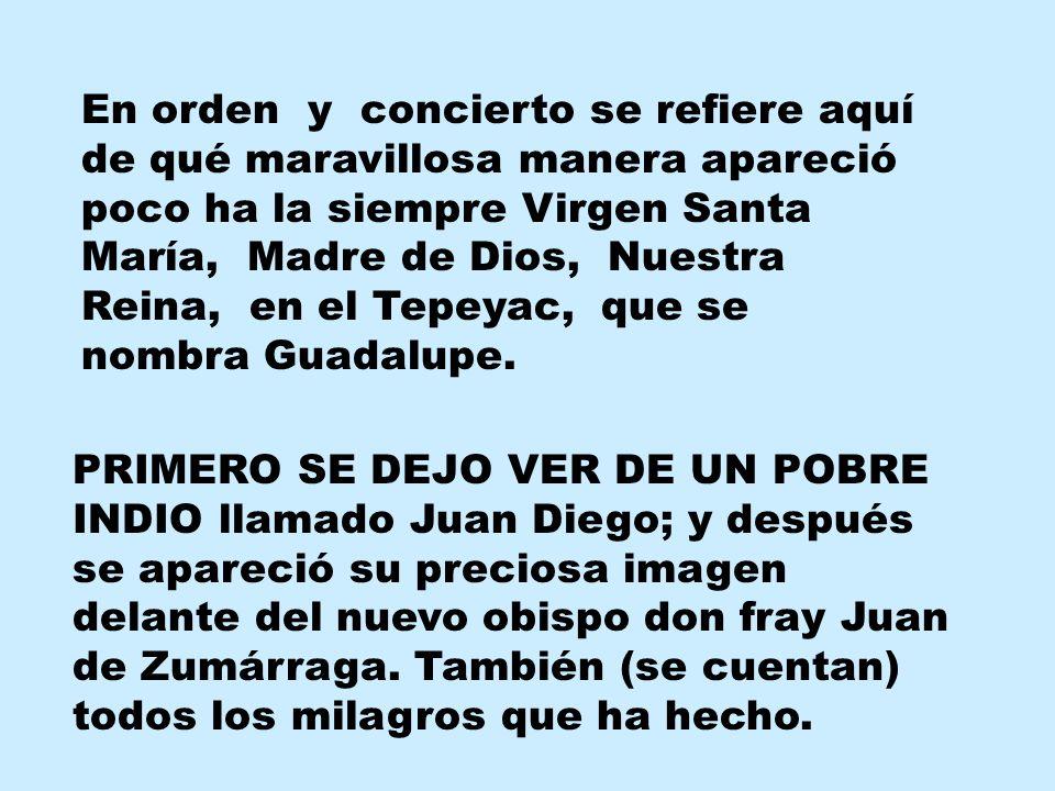 En orden y concierto se refiere aquí de qué maravillosa manera apareció poco ha la siempre Virgen Santa María, Madre de Dios, Nuestra Reina, en el Tepeyac, que se nombra Guadalupe.