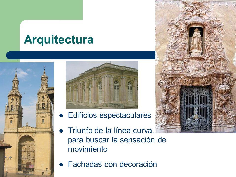Arquitectura Columnas salomónicas (fuste retorcido) Se provoca perspectivas y contrastes de luz Unida al urbanismo: Palacios, fuentes, templos