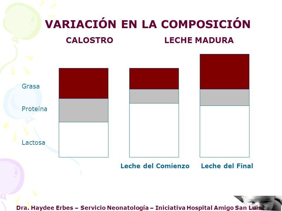 Dra. Haydee Erbes – Servicio Neonatología – Iniciativa Hospital Amigo San Luis Grasa Proteína Lactosa VARIACIÓN EN LA COMPOSICIÓN CALOSTRO LECHE MADUR