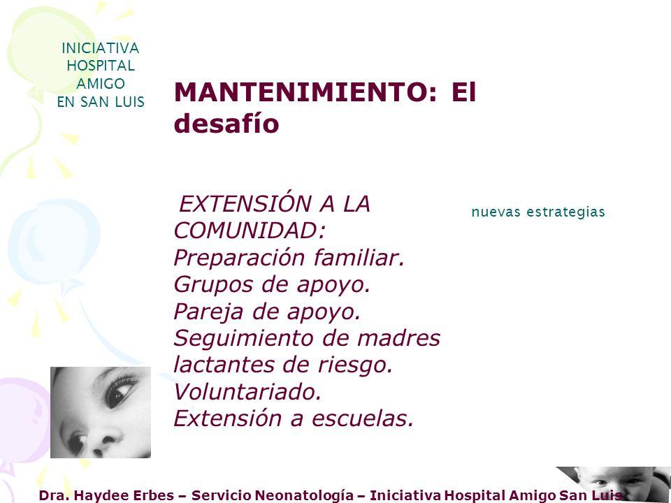 Dra. Haydee Erbes – Servicio Neonatología – Iniciativa Hospital Amigo San Luis INICIATIVA HOSPITAL AMIGO EN SAN LUIS nuevas estrategias MANTENIMIENTO: