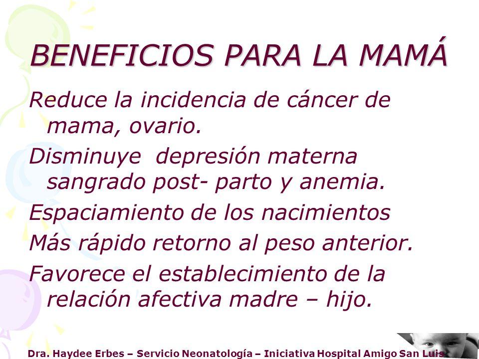 Dra. Haydee Erbes – Servicio Neonatología – Iniciativa Hospital Amigo San Luis BENEFICIOS PARA LA MAMÁ Reduce la incidencia de cáncer de mama, ovario.