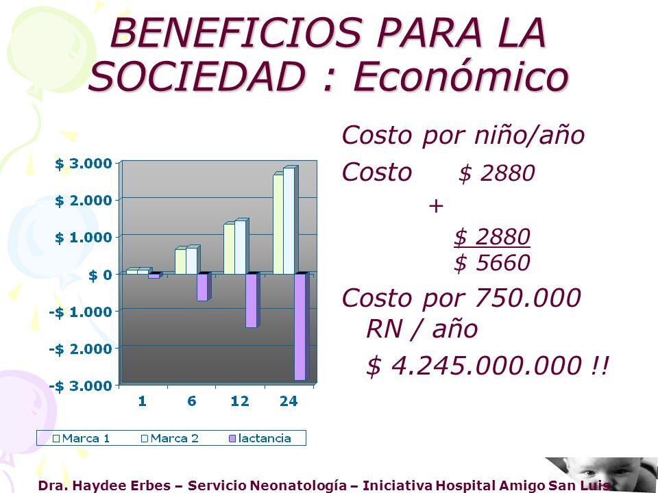 Dra. Haydee Erbes – Servicio Neonatología – Iniciativa Hospital Amigo San Luis BENEFICIOS PARA LA SOCIEDAD : Económico Costo por niño/año Costo $ 2880