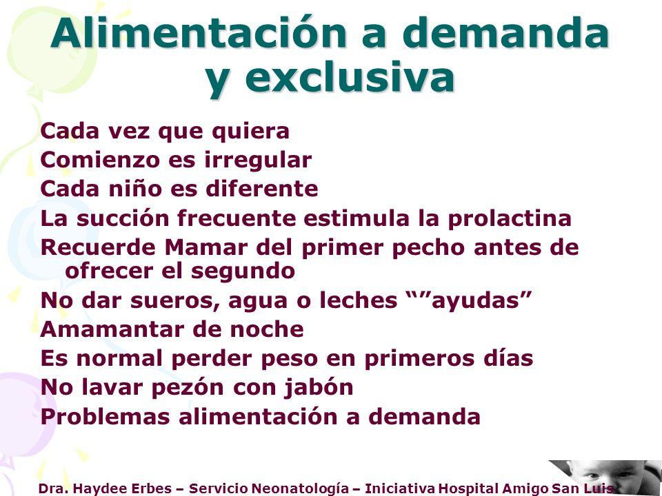 Dra. Haydee Erbes – Servicio Neonatología – Iniciativa Hospital Amigo San Luis Alimentación a demanda y exclusiva Cada vez que quiera Comienzo es irre