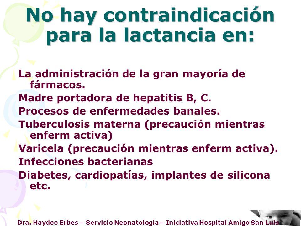 Dra. Haydee Erbes – Servicio Neonatología – Iniciativa Hospital Amigo San Luis No hay contraindicación para la lactancia en: La administración de la g
