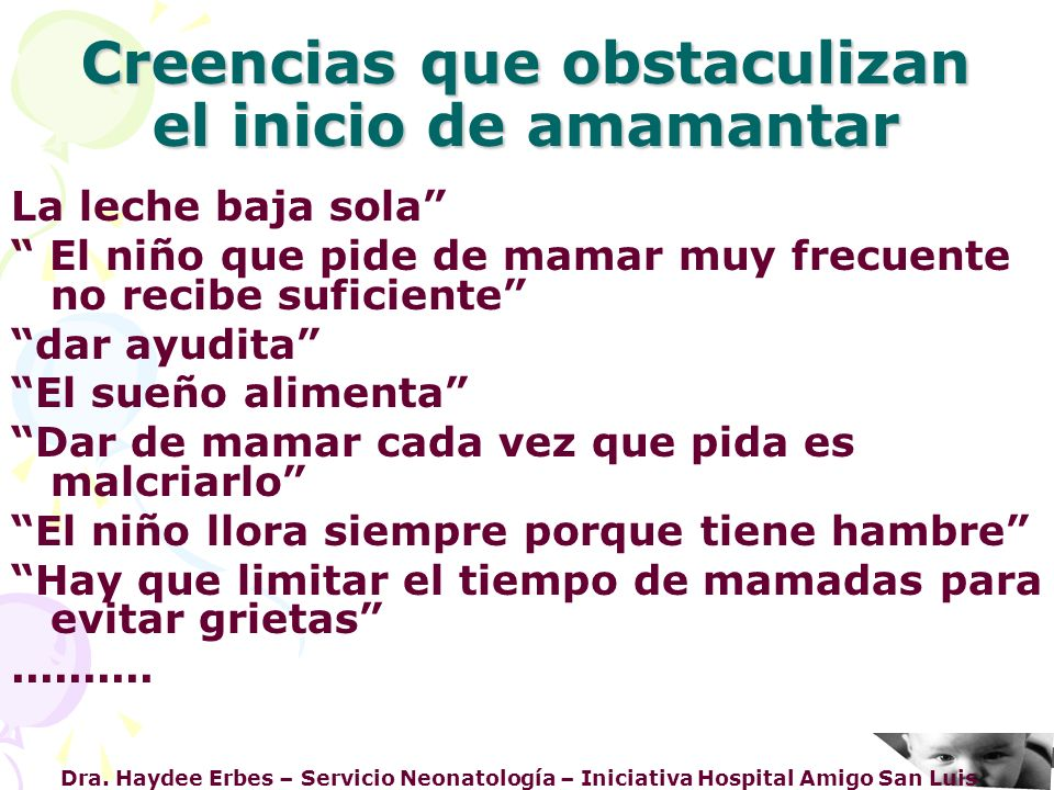 Dra. Haydee Erbes – Servicio Neonatología – Iniciativa Hospital Amigo San Luis Creencias que obstaculizan el inicio de amamantar La leche baja sola El