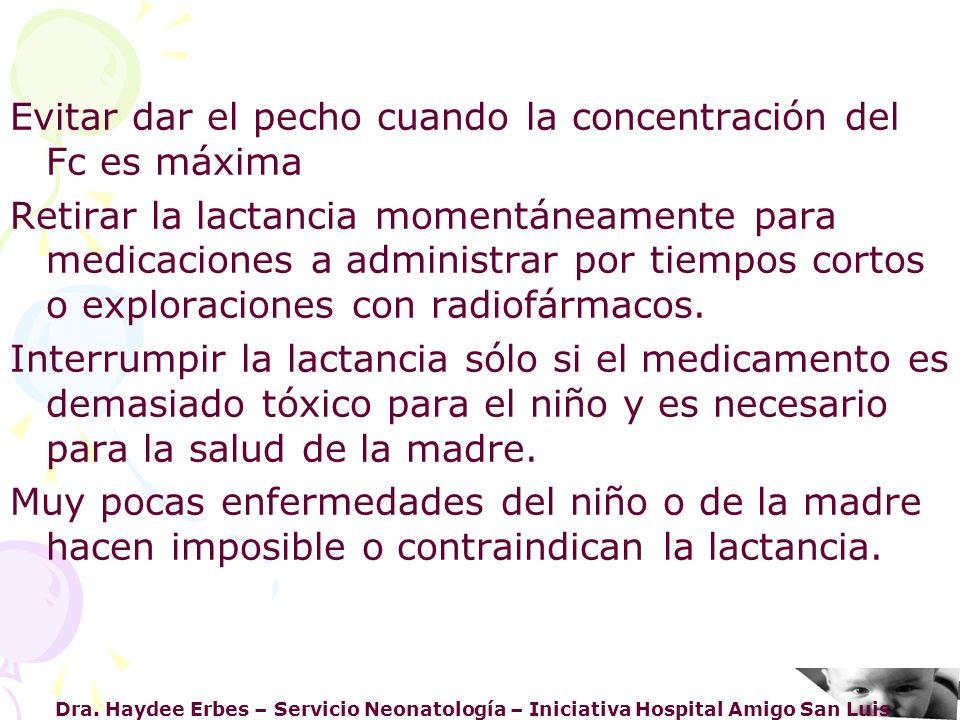 Dra. Haydee Erbes – Servicio Neonatología – Iniciativa Hospital Amigo San Luis Evitar dar el pecho cuando la concentración del Fc es máxima Retirar la