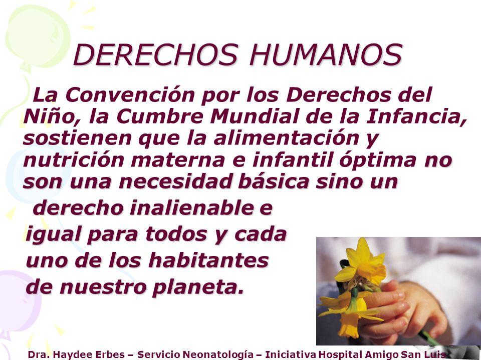 Dra. Haydee Erbes – Servicio Neonatología – Iniciativa Hospital Amigo San Luis DERECHOS HUMANOS no son una necesidad básica sino un La Convención por