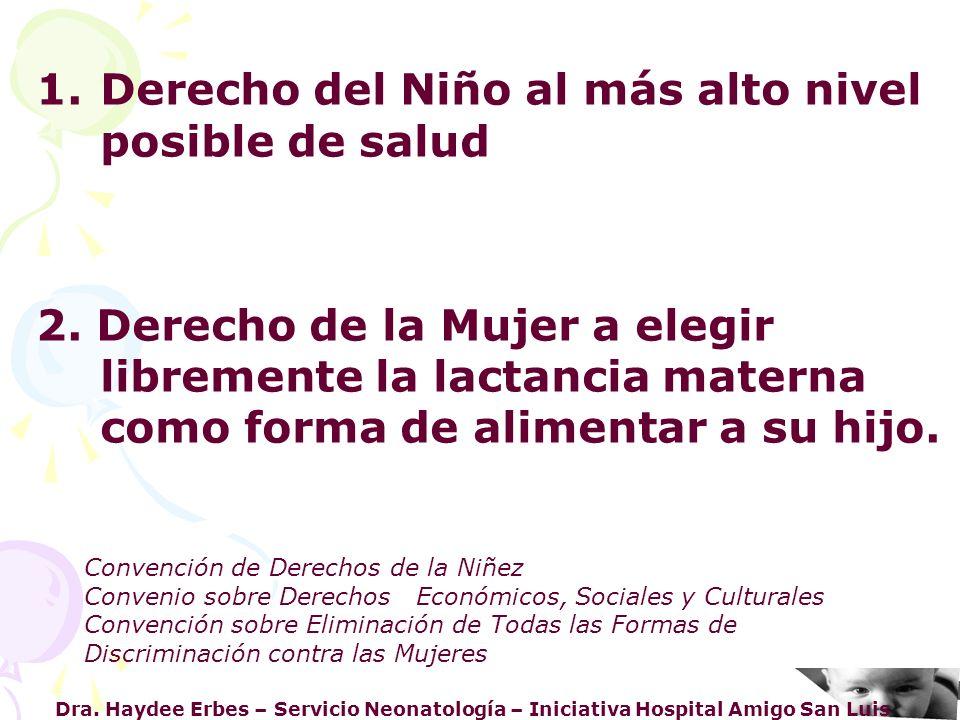 Dra. Haydee Erbes – Servicio Neonatología – Iniciativa Hospital Amigo San Luis 1.Derecho del Niño al más alto nivel posible de salud 2. Derecho de la