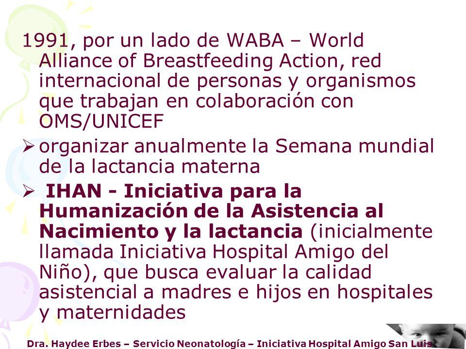 Dra. Haydee Erbes – Servicio Neonatología – Iniciativa Hospital Amigo San Luis 1991, por un lado de WABA – World Alliance of Breastfeeding Action, red