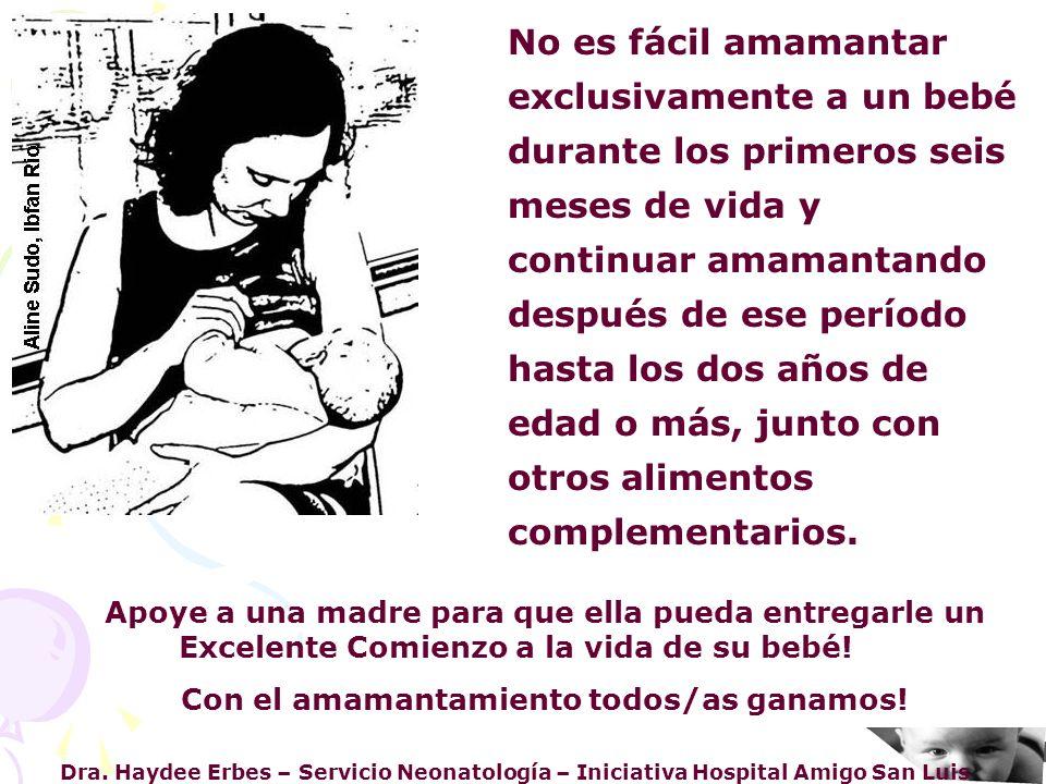 Dra. Haydee Erbes – Servicio Neonatología – Iniciativa Hospital Amigo San Luis Apoye a una madre para que ella pueda entregarle un Excelente Comienzo