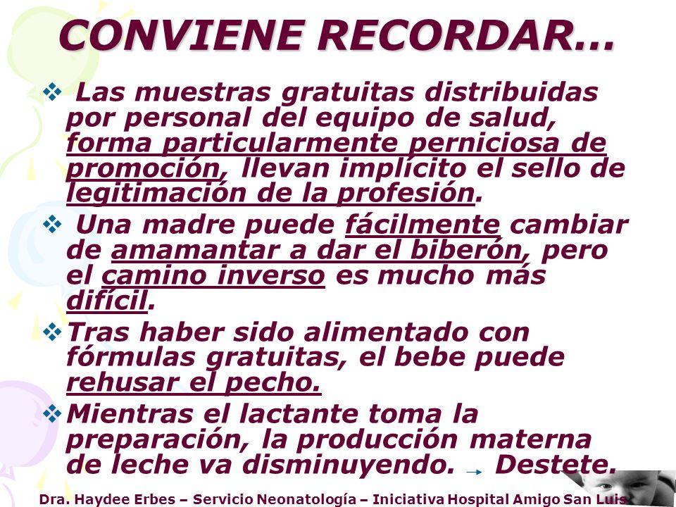 Dra. Haydee Erbes – Servicio Neonatología – Iniciativa Hospital Amigo San Luis CONVIENE RECORDAR… Las muestras gratuitas distribuidas por personal del
