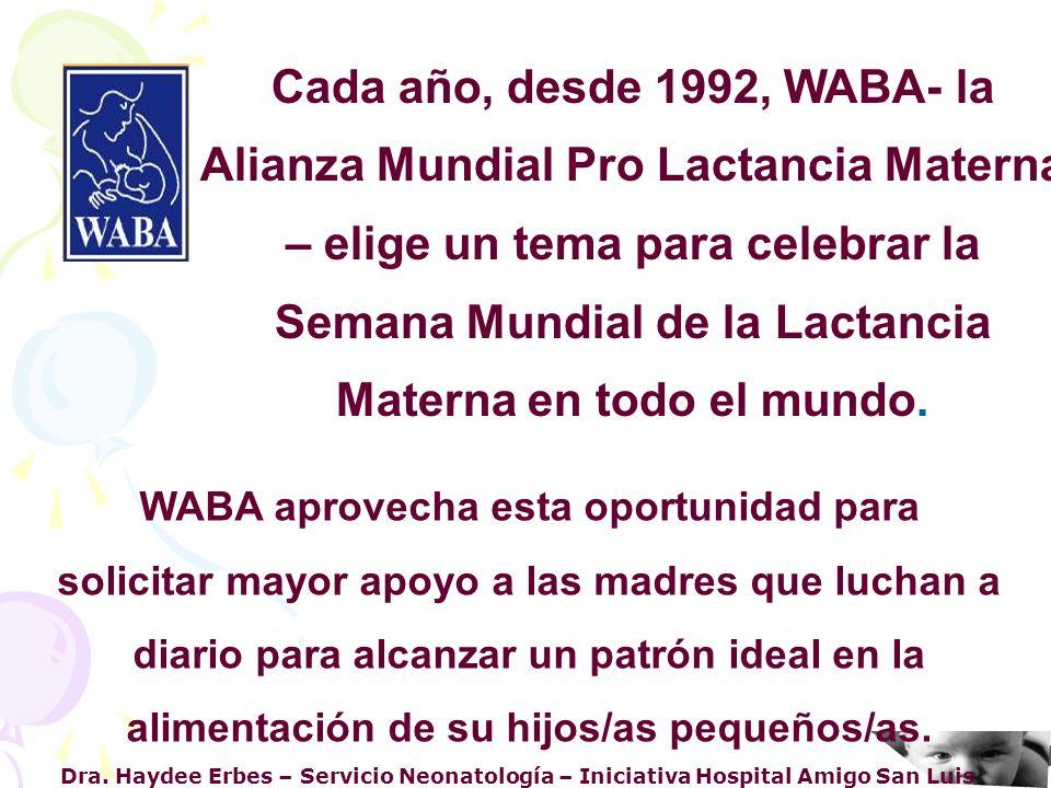 Dra. Haydee Erbes – Servicio Neonatología – Iniciativa Hospital Amigo San Luis WABA aprovecha esta oportunidad para solicitar mayor apoyo a las madres