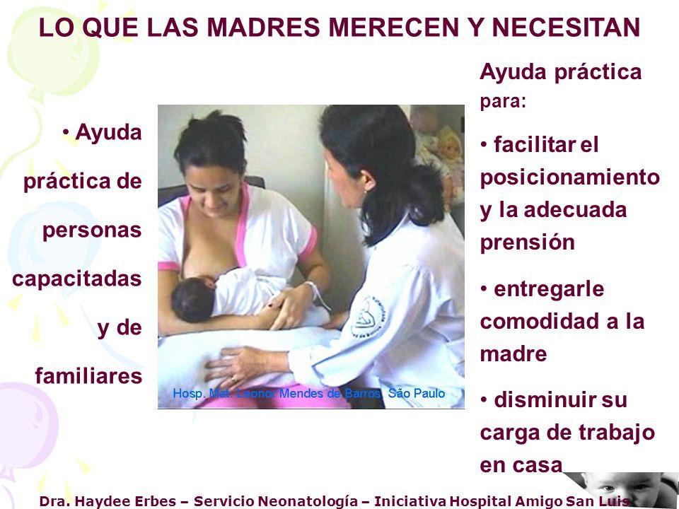 Dra. Haydee Erbes – Servicio Neonatología – Iniciativa Hospital Amigo San Luis LO QUE LAS MADRES MERECEN Y NECESITAN Ayuda práctica de personas capaci