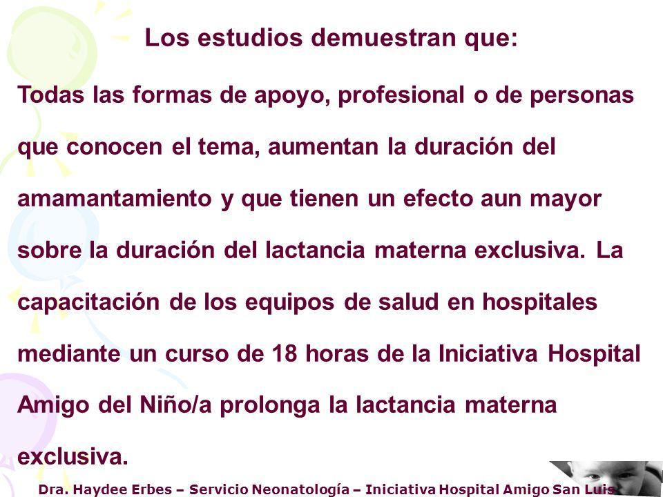 Dra. Haydee Erbes – Servicio Neonatología – Iniciativa Hospital Amigo San Luis Los estudios demuestran que: Todas las formas de apoyo, profesional o d