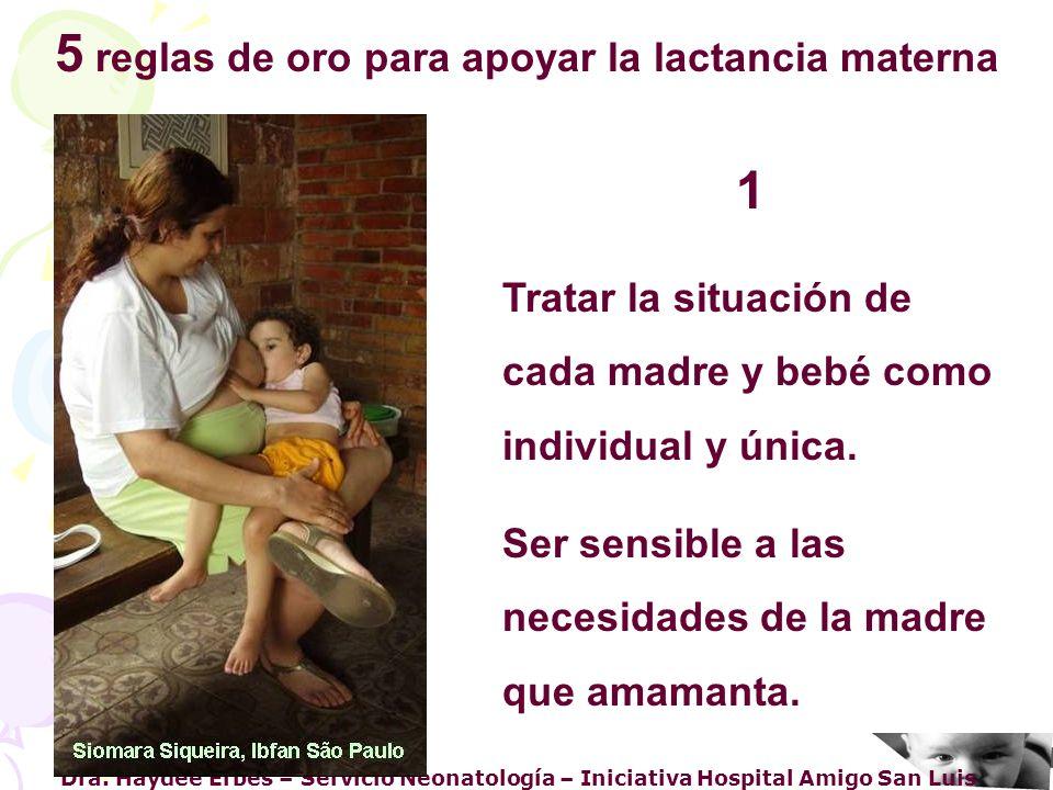 Dra. Haydee Erbes – Servicio Neonatología – Iniciativa Hospital Amigo San Luis 5 reglas de oro para apoyar la lactancia materna 1 Tratar la situación