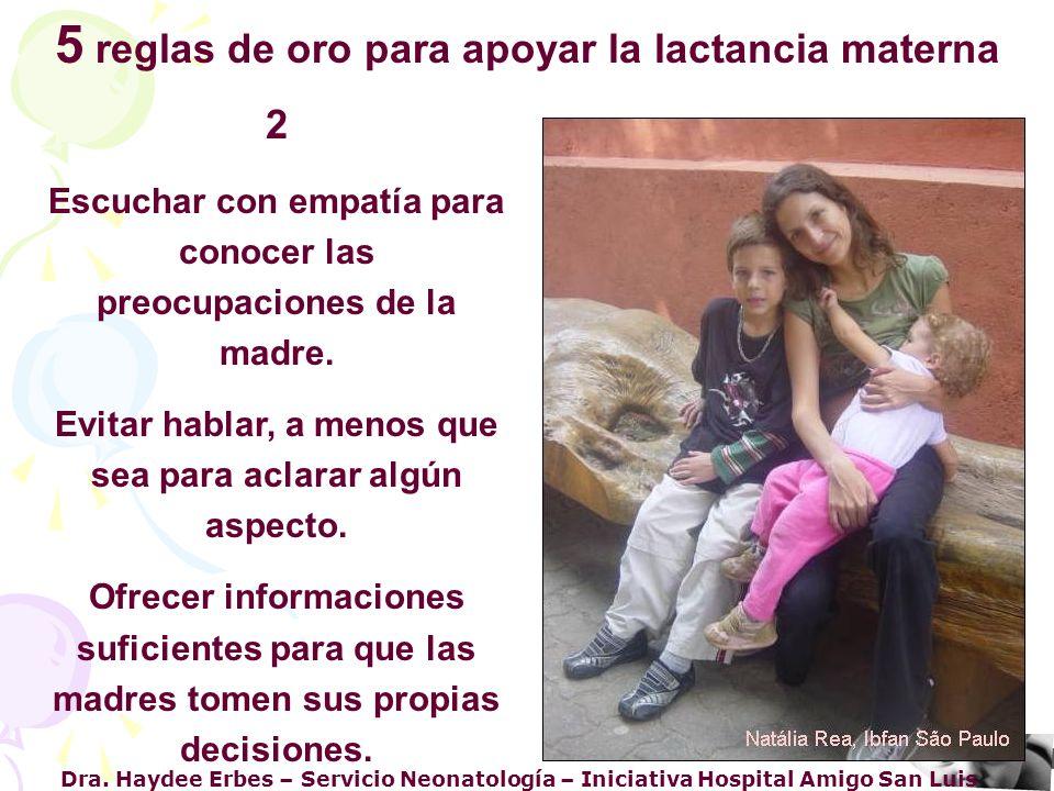 Dra. Haydee Erbes – Servicio Neonatología – Iniciativa Hospital Amigo San Luis 2 Escuchar con empatía para conocer las preocupaciones de la madre. Evi