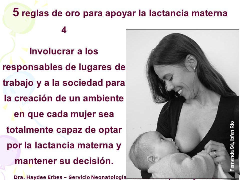 Dra. Haydee Erbes – Servicio Neonatología – Iniciativa Hospital Amigo San Luis 4 Involucrar a los responsables de lugares de trabajo y a la sociedad p