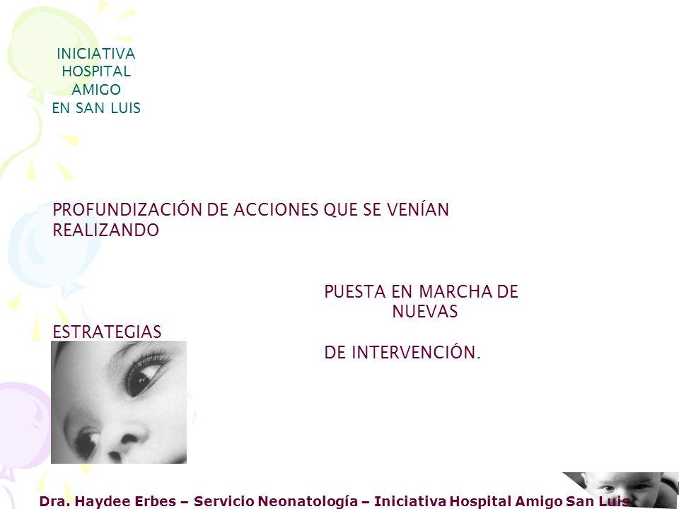 Dra. Haydee Erbes – Servicio Neonatología – Iniciativa Hospital Amigo San Luis INICIATIVA HOSPITAL AMIGO EN SAN LUIS PROFUNDIZACIÓN DE ACCIONES QUE SE