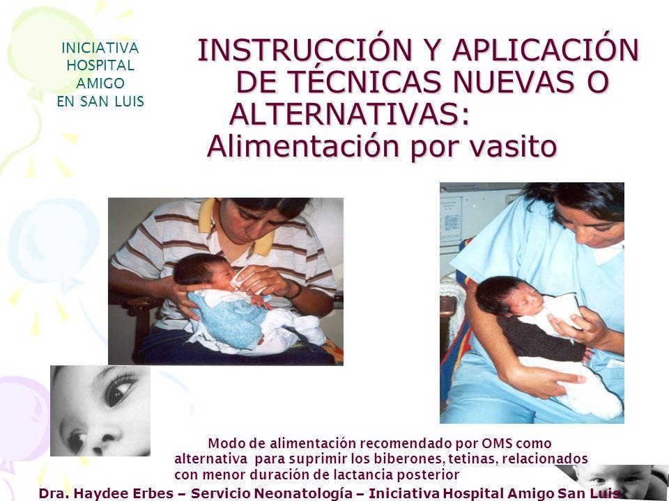 Dra. Haydee Erbes – Servicio Neonatología – Iniciativa Hospital Amigo San Luis INICIATIVA HOSPITAL AMIGO EN SAN LUIS nuevas estrategias Modo de alimen