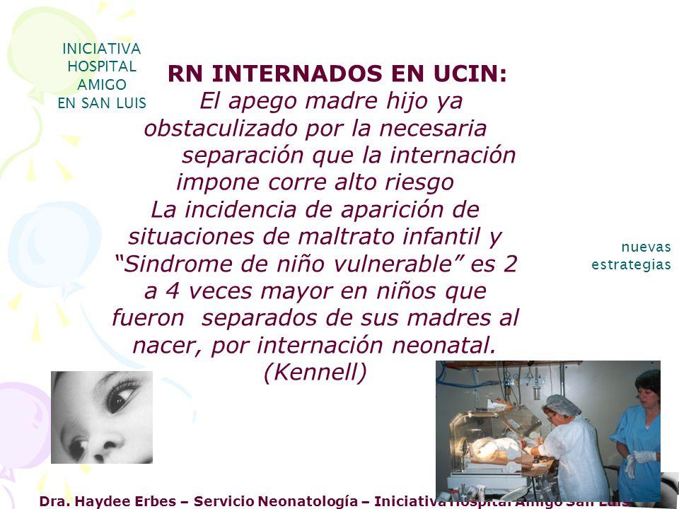 Dra. Haydee Erbes – Servicio Neonatología – Iniciativa Hospital Amigo San Luis INICIATIVA HOSPITAL AMIGO EN SAN LUIS nuevas estrategias RN INTERNADOS