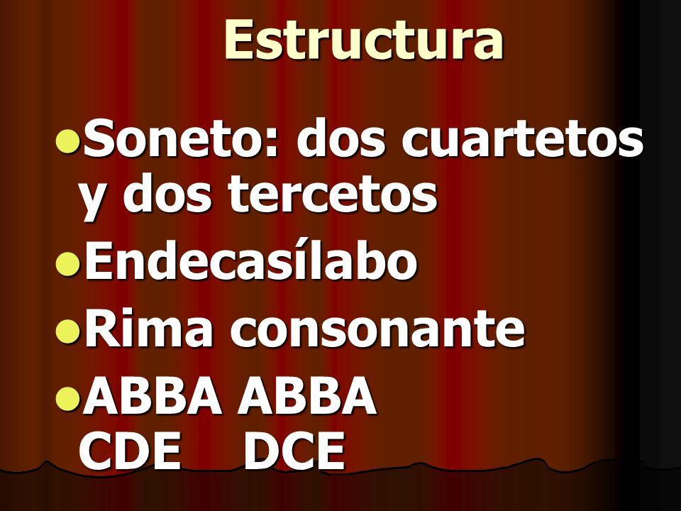 Estructura Soneto: dos cuartetos y dos tercetos Soneto: dos cuartetos y dos tercetos Endecasílabo Endecasílabo Rima consonante Rima consonante ABBA AB