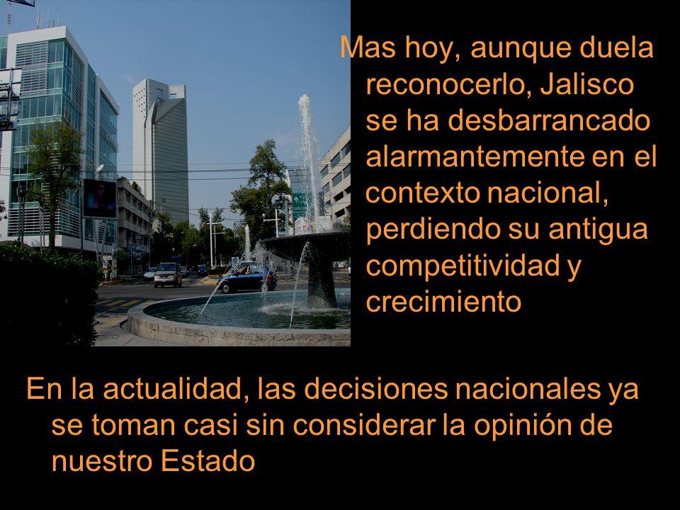 Mas hoy, aunque duela reconocerlo, Jalisco se ha desbarrancado alarmantemente en el contexto nacional, perdiendo su antigua competitividad y crecimien