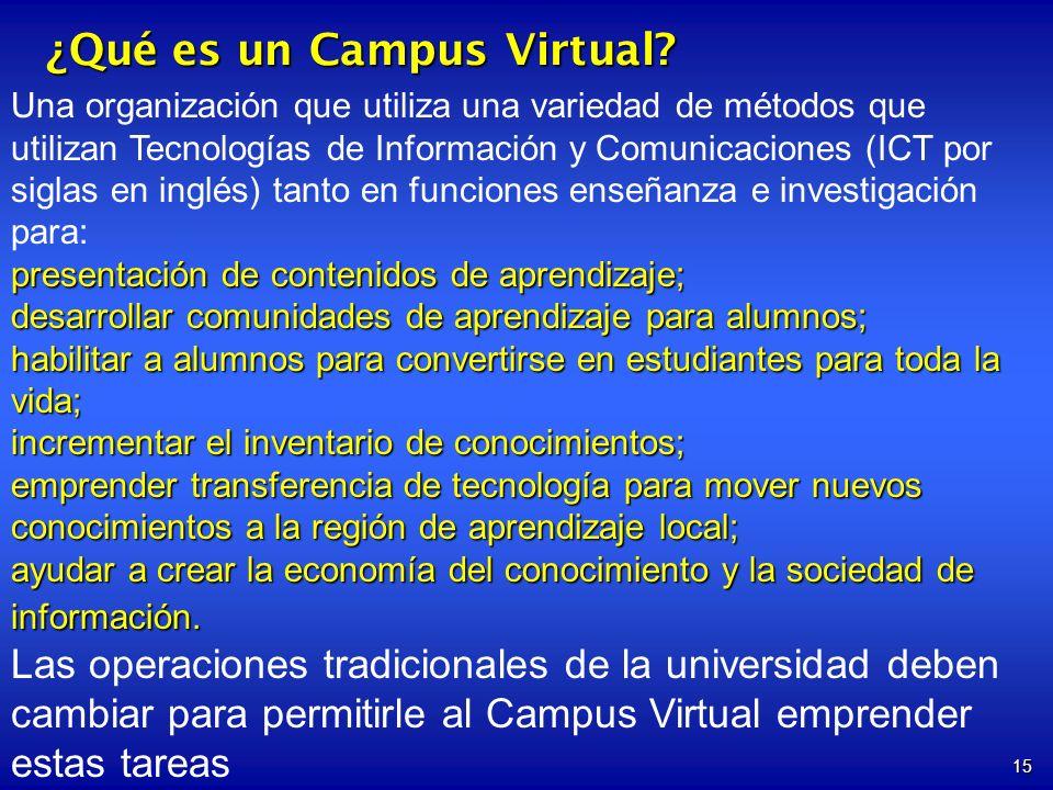 15 ¿Qué es un Campus Virtual? Una organización que utiliza una variedad de métodos que utilizan Tecnologías de Información y Comunicaciones (ICT por s