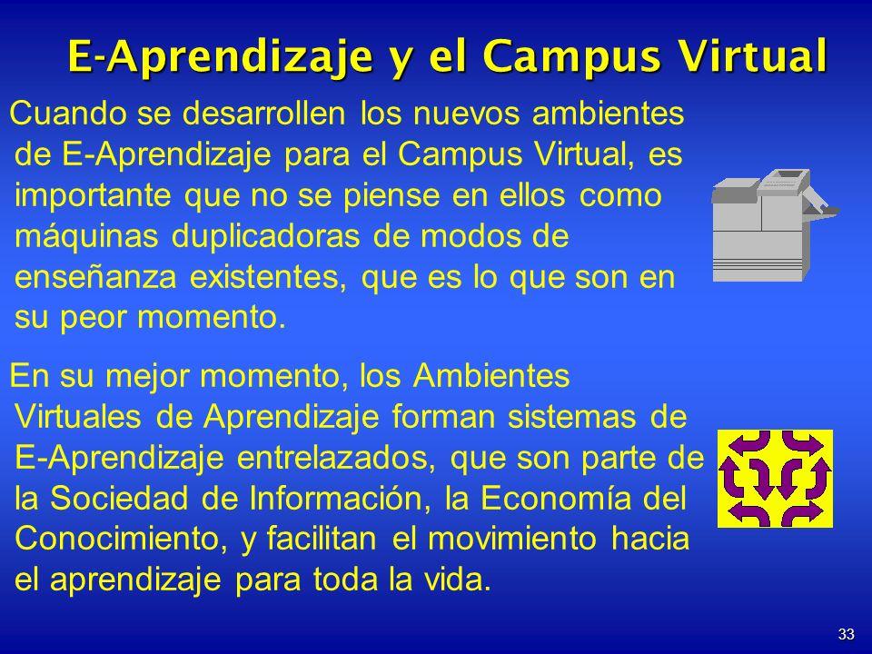 33 Cuando se desarrollen los nuevos ambientes de E-Aprendizaje para el Campus Virtual, es importante que no se piense en ellos como máquinas duplicado