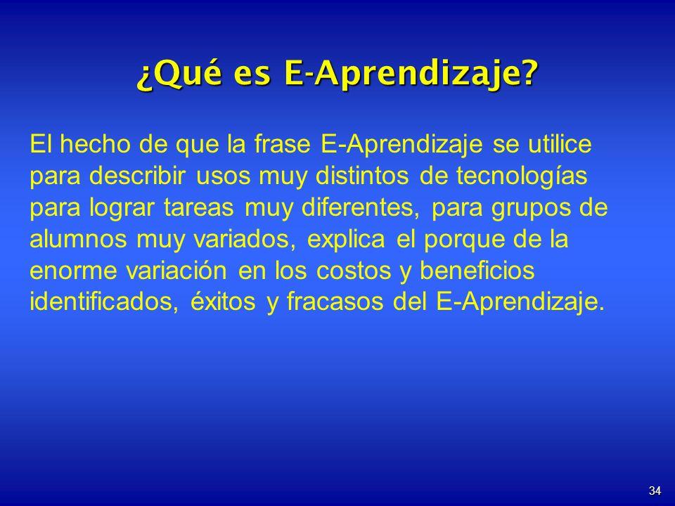 34 ¿Qué es E-Aprendizaje? El hecho de que la frase E-Aprendizaje se utilice para describir usos muy distintos de tecnologías para lograr tareas muy di