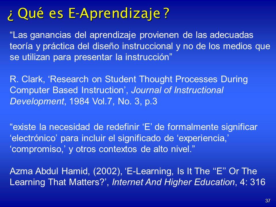 37 Las ganancias del aprendizaje provienen de las adecuadas teoría y práctica del diseño instruccional y no de los medios que se utilizan para presentar la instrucción R.