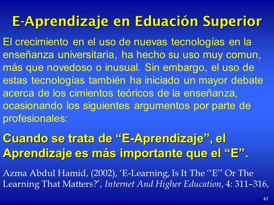 47 E-Aprendizaje en Eduación Superior El crecimiento en el uso de nuevas tecnologías en la enseñanza universitaria, ha hecho su uso muy comun, más que novedoso o inusual.