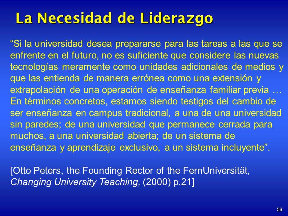 59 La Necesidad de Liderazgo Si la universidad desea prepararse para las tareas a las que se enfrente en el futuro, no es suficiente que considere las