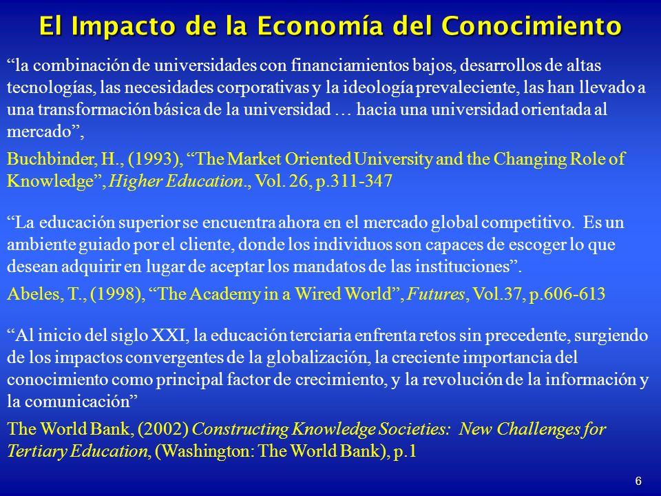 6 la combinación de universidades con financiamientos bajos, desarrollos de altas tecnologías, las necesidades corporativas y la ideología prevalecien