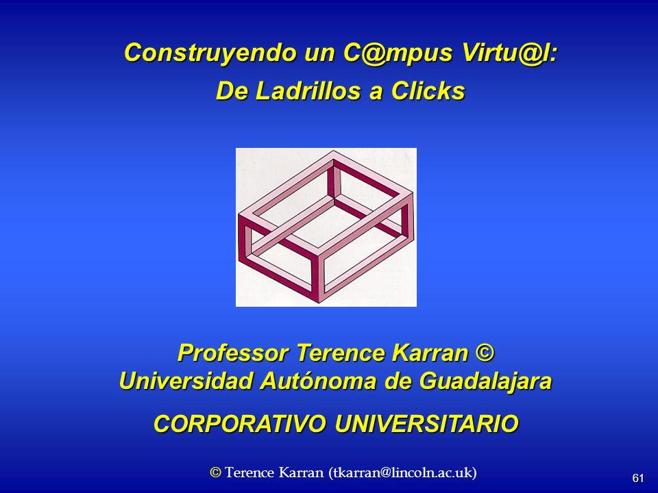 61 Construyendo un C@mpus Virtu@l: De Ladrillos a Clicks Professor Terence Karran © Universidad Autónoma de Guadalajara CORPORATIVO UNIVERSITARIO © Te